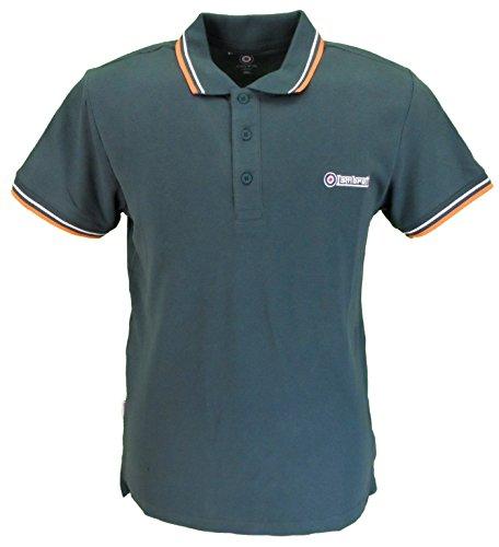 Lambretta Mens Green/Orange/White Retro Polo Shirt