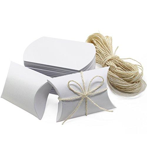 Carta kraft hseamall pillow box candy box regalo per matrimonio festa di compleanno bianco 50pcs