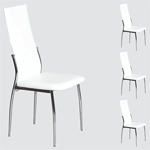 Lot de 4 chaises de salle à manger DORIS, piètement chromé simili cuir blanc
