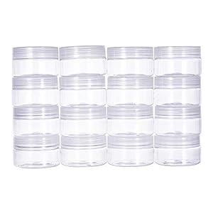 BENECREAT 16 PACK 4oz (120ML) Slime Lagerung Gunst Gläser klar leere Weithals-Kunststoff-Behälter mit klaren Deckel für DIY Schleim machen