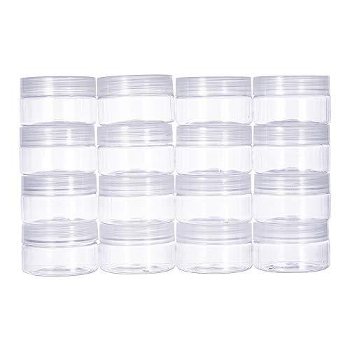 BENECREAT 16 PACK 4oz (120ML) Slime Lagerung Gunst Gläser klar leere Weithals-Kunststoff-Behälter mit klaren Deckel für DIY Schleim machen (Glas-lagerung)