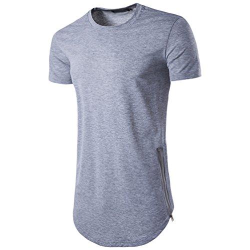 d1ae6d9432 CHENGYANG Uomo Lungo T-shirt con Cerniera Casual Tinta Unita Basic ...