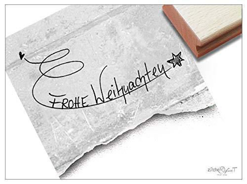 Stempel - Weihnachtsstempel - Frohe Weihnachten mit Stern - Textstempel - handschriftlich - zAcheR-fineT
