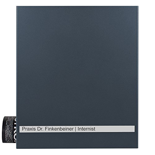 MOCAVI Box 131 Briefkasten anthrazit-grau mit großem Edelstahl-Gravur-Band, Deutsche Produktion, Zeitungsfach (RAL 7016) Zeitungsrolle, Postkasten, ungraviert