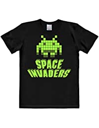 Logoshirt Nerd - Space Invaders - Alien Green - Short Sleeve T-Shirt for Men - Black - Licensed Original Design