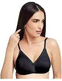 bda65a455b597 DAISY DEE Black Color Cotton Wirefree Regular Straps Seamless Full Coverage  Non Padded Bra for Women