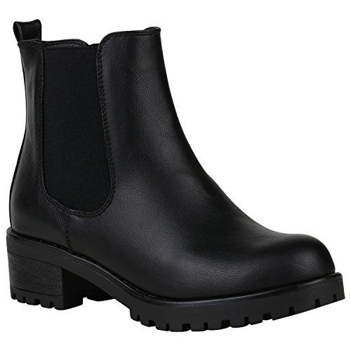 Gefütterte Damen Schuhe Chelsea Boots Plateau Stiefeletten Profilsohle 150512 Schwarz Agueda 37 Flandell