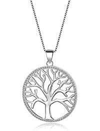 FANZE Women Jewerly-925 Sterling Silver Life Tree Floating Memory Art Deco Pendant Necklace-Birthday Gift, Rolo Chain 18''