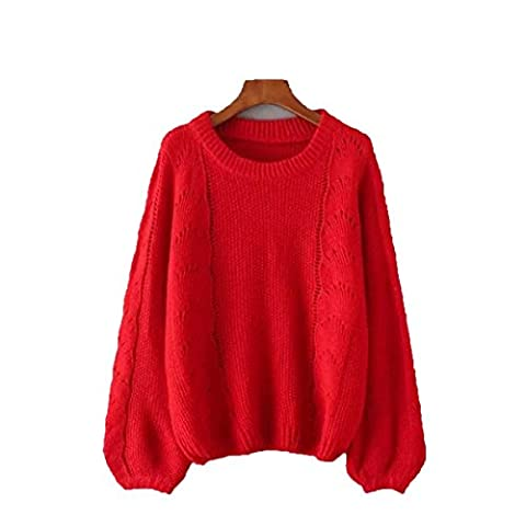 CHLXI Women Sweater With Loose Lantern Sleeves Hollow Round Neck Knitted Sweater,Red-OneSize