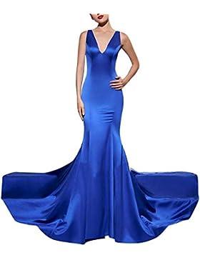 Floor Length Vestito Donna Elegante V-Collo Backless Vestito da Sera Lungo Abito da Cerimonia