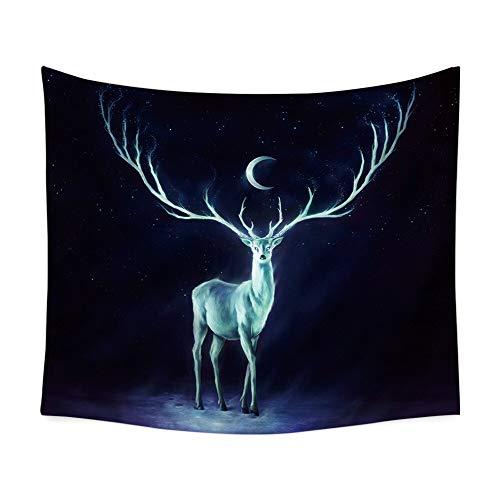 HCYHU Moon Deer Forest Modern Tapestry Wall Hängende Tuchwände Wandteppiche Viereck Wanddecke Teppich Dorm Dekoration 150cm*150cm - 1046 Teppich
