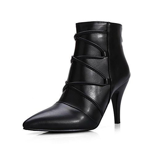 VogueZone009 Damen Hoher Absatz Blend-Materialien Niedrig-Spitze Reißverschluss Stiefel, Schwarz, 37