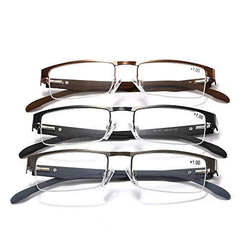 Metall-Lesebrille Altmodische Brille Halbgerahmte altmodische Brille Presbyopie-Brille (3 Paar),4.0