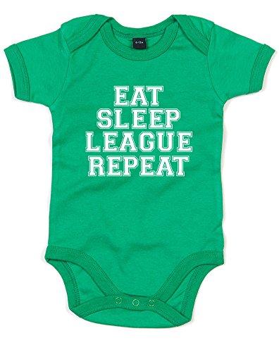 Eat Sleep League Repeat, Gedruckt Baby Strampler - Kelly Green/White 0-3 - 1 Dota
