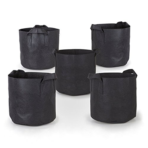 Cikuso 5Pcs/ Sack, schwarzer Stoff, Vliesstoff, oekologischer Pflanzsack