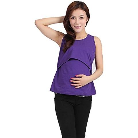 Koly Ropa de maternidad embarazada enfermería tapas lactancia chaleco camiseta (Púrpura)