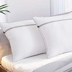 BedStory Nouvelle Version Oreillers Lot de 2 60x60, Oreiller Medium 60x60 avec Garnissage 3D Fibre Polyester, Glonfants et Garde la Forme, Oreiller Anti-Transpiration pour Hotêl Lit Canapé