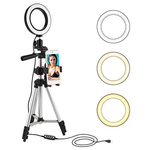 Leyeet LED Ringlicht 5.7 Zoll Mit Stativhalterung Mini Kameralicht mit Tischlampe mit Halterung für Handy mit 360°-Rotation mit 3 Modi und 11 Helligkeitsstufen für Video und Schminke auf Youtube - Video-spiel-gitarre
