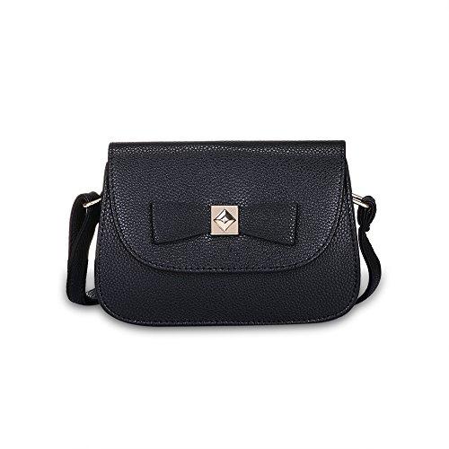 Faysting EU borsa a tracolla donna vari colori scelti PU pelle farfalla decorato stile buon regalo nero