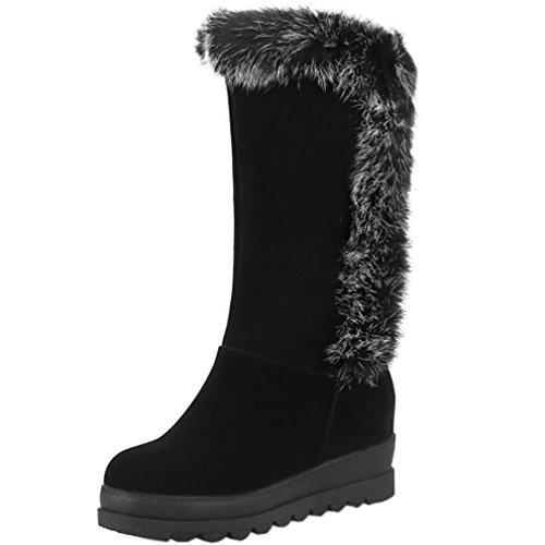 Schnee Stiefel On Womens Slip (ENMAYER Damen Nubukleder Winter Schneeschuhe Slip On Lady Schuhe mit Warmfutter Schwarz EU 35)