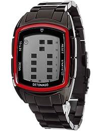 DETOMASO Herrenuhr Quarz Edelstahlgehäuse Edelstahlarmband Mineralglas SPACY TIMELINE LCD Digital Trend mehrfarbig/schwarz DT2013-D