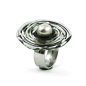 Edelstahl-Ring in Grau-Tönen mit Scheibe aus Murano-Glas | passt immer | verstellbar (16-21) | Wechsel-Ring | Personalisiertes Geschenk für sie zu Valentinstag Jahrestag Hochzeit Geburtstag Mama