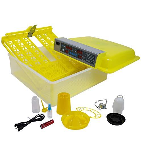 Helo 'BM-48' Brutmaschine für 48 Eier mit Wendefunktion und Lüfter, Profi Inkubator mit präziser Temperaturregelung mit Hoch- und Niedrig Temperaturalarm und Hygrometer mit Luftfeuchtigkeitsalarm -