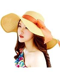 Hulday Señoras De Las Elegante Bowknot Borde Plegable Mujeres Ancho Sombrero  Estilo Simple para El Sol 217032ab337