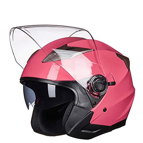 MMGIRLS Casco Protezione Solare Auto Doppia Lente - Uomini e Donne Casco Estivo Quattro Stagioni Moto Sicurezza (Rosa),L