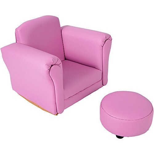 Club Chair PU Leather Look Covers Foam Sofa Kids Sofa Chairs With Stool (PINK)
