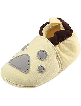 JERFER Schöne Kleinkind erste Wanderer Babyschuhe runde Kappe Wohnungen weiche Hausschuhe Schuhe 6-12M