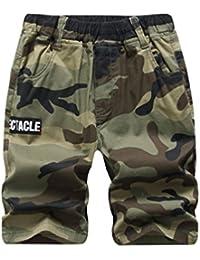 YoungSoul Pantalones cortos de carga para niño, Shorts de camuflaje con cinturilla elástica, Estampado militar 3-14 años