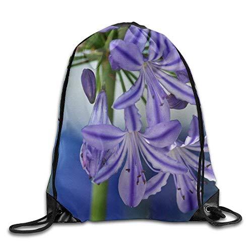Bixungan Unisex Nature Blossom Plant Flower Purple Petal Print Drawstring Backpack Rucksack Shoulder Bags Gym Bag Sport Bag -