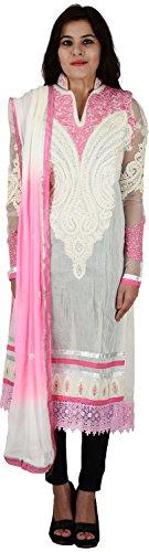 Raj Nandini Suits & Sarees Women's Chanderi Silk Semi Stitched Salwar Suit Set(RajNandini01 _ P