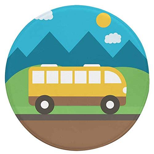 ZYT Antibakterielle, leicht zu reinigen, Kinder Cartoon runde Teppich/Flanell bodenmatte Bus 80 * 80 cm -