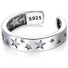 30df03276613 Guzhile Fashion Jewelry - Anillo Ajustable de Plata de Ley 925 con diseño  de Estrella de