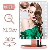 FASCINATE Grande Espejo Maquillaje con Luz 35 LED 10X Aumento Espejo de Maquillaje, Pantalla táctil Lámparas Cosmético con Amovible Ajustable 360° de Rotación para Cosmético