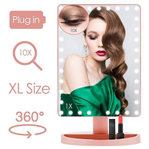 Grande Specchio per il Trucco con Luci Specchio per Trucco Illuminato da 14,5 Pollici con 35 luci a LED Lente di Ingrandimento 10x Ruotabile di 180/360 con Touch Screen per Specchio Cosmetico