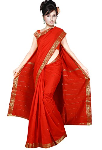 Sari Salwar Kameez Bollywood Saree Indien Goldbrokat Orient Ethno Boho Batik Karneval Rot