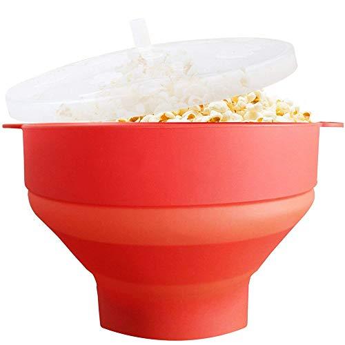 NBSXR Mikrowelle Air Popcorn Popper, Silikon Popcorn Maker Schüssel für Zuhause, Faltbare Popcorn Schüssel mit Deckel und Griffe für hausgemachtes Popcorn-Rot