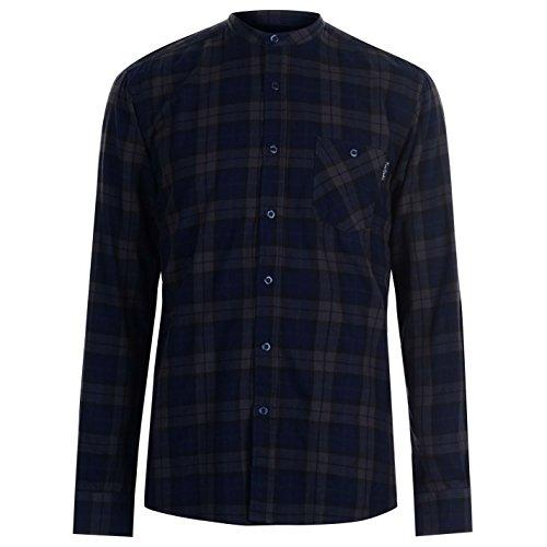 Pierre Cardin Grandad Opa Halsband Flanell Shirt Hemd Herren (Marine/Charcoal, Medium)