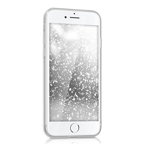 kwmobile Hülle für Apple iPhone 7 / 8 - TPU Silikon Backcover Case Handy Schutzhülle - Cover Metallic Rosegold Flocken Silber Transparent