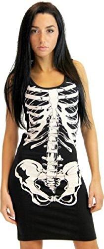 Glow in the Dark Black and White Skeleton Juniors Costume Tank Dress (Juniors (Dress Black Tank)