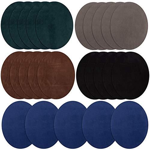 Aufnäher zum Aufbügeln, 25 Stück, 5 Farben, oval, Veloursleder, Rindsleder, Ellenbogenflicken, Knie, zum Aufbügeln, Samt, für Pullover, Reparatur-Set für Kleidung und Jeans B -