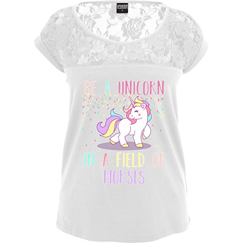 Einhorn Unicorn - be a unicorn a field of horses - modisches Damen T-Shirt mit Spitze Weiß