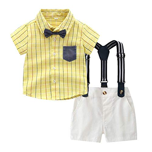 rumiao 0-3Years Kleinkind Baby Boys Gentleman Sommer Fliege Plaid Bluse T-Shirt Tops + Shorts Overalls Outfits,Yellow-18-24Months (St Patricks Outfit-ideen Day)