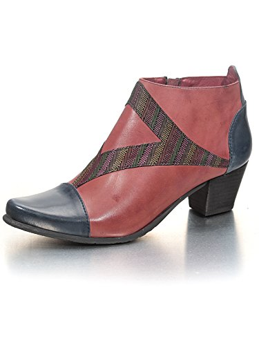 Fidji Damen V791 Glattleder Exclusive Designer-Stiefelette Bordeaux/Blau