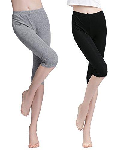 Vinconie Damen Capri Hose Kurz Leggings 3/4 Länge Yoga Pants Strumpfhosen, Medium / (40 42), 2 Pack: Schwarz & Hellgrau (Capri Yoga Pants Medium)