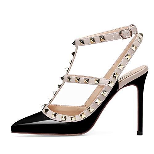 4c278ac76af Women Pointed Toe Studded Strappy Slingback High Heel Leather Pumps  Stilettos Heeled Sandals Nude Pink Size 10UK 43 EU 45CN