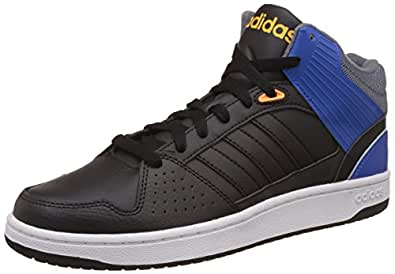 db514510fa3 adidas neo Men s Hoops Jumpshot Mid Cblack and Blue Leather Sneakers ...